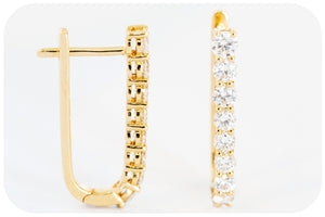 Diamond Encrusted Hoop Earrings in 18k Yellow Gold - 1.08ct