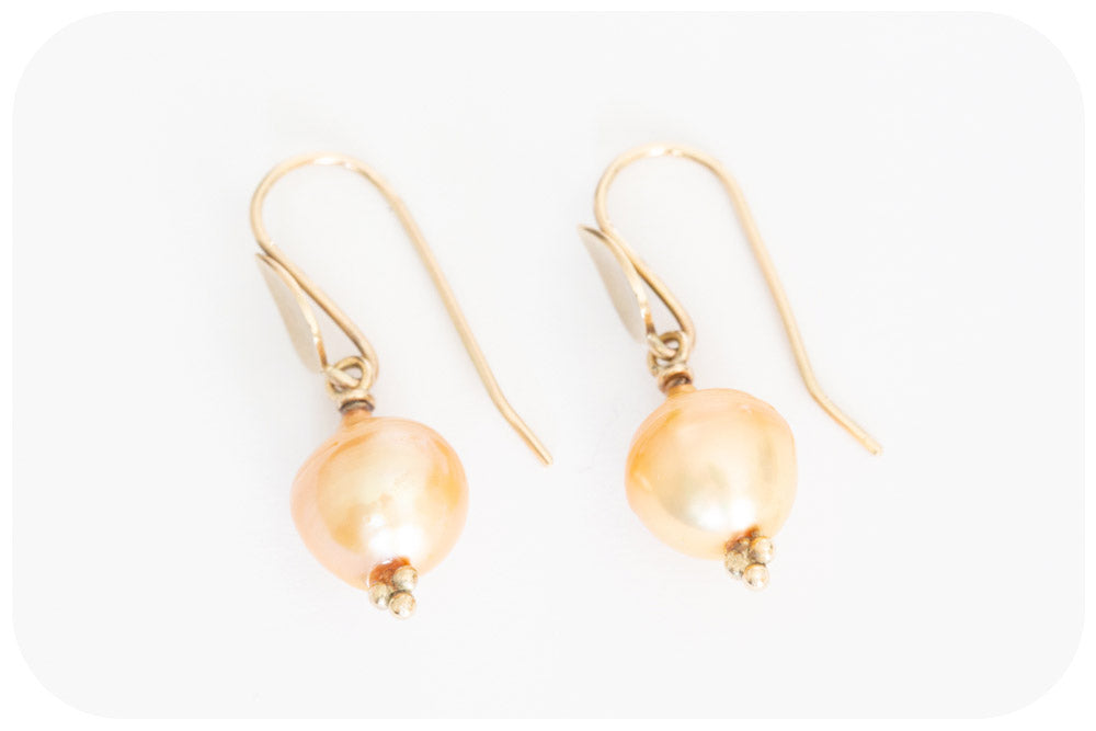 10.5mm Gold Fresh Water Pearl Drop Earrings in 9k Yellow Gold