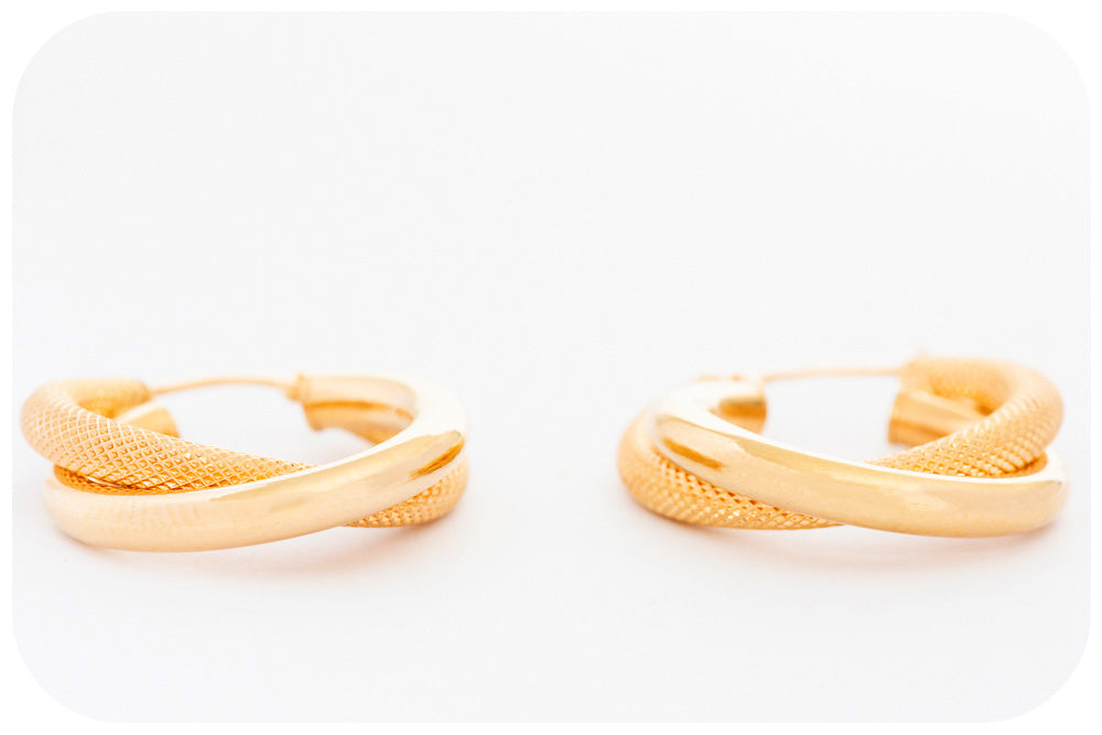 Yellow Gold Double Hoop Earring with Mesh Design