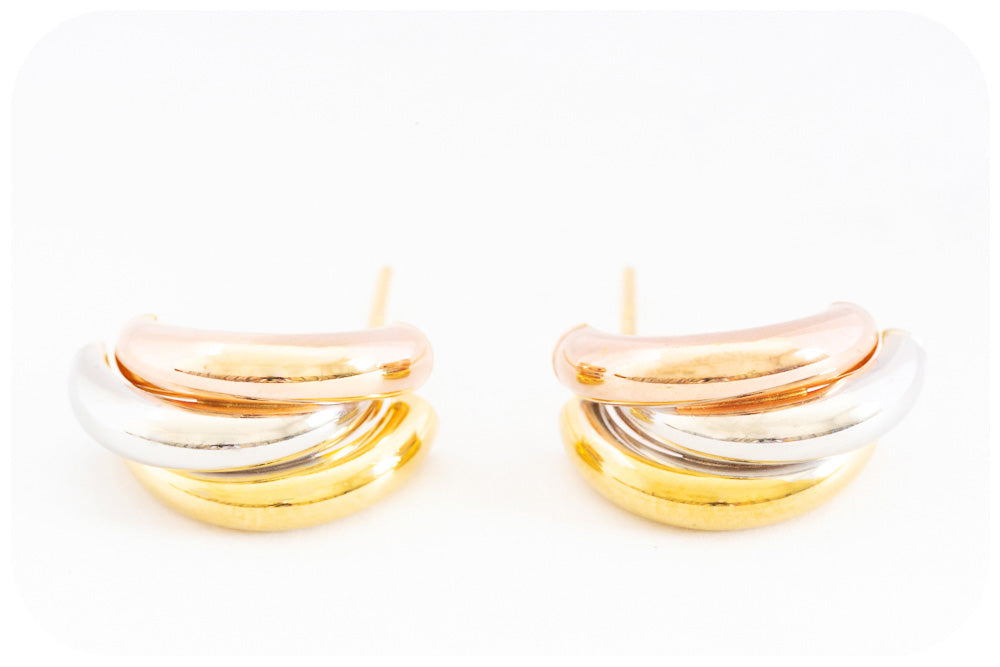 Beautiful Half Moon, Tri-Colour 9k Gold Earring - Victoria's Jewellery