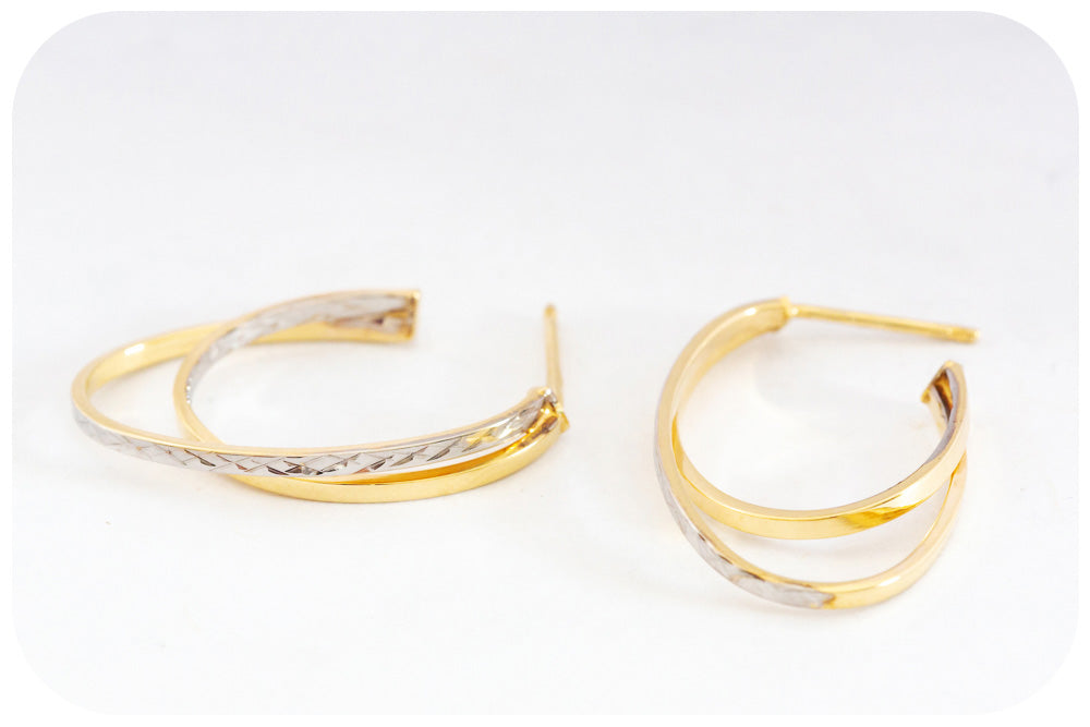Sparkling 9k White and Yellow gold Double Hoop Earring - Victoria's Jewellery