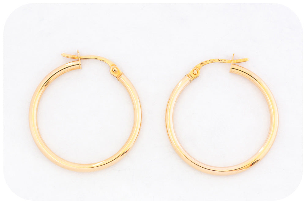 Elegant 20mm 9k Yellow Gold Hoop Earring - Victoria's Jewellery