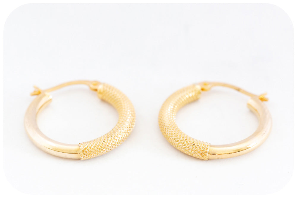 15mm Yellow Gold Hoop Earring - Victoria's Jewellery