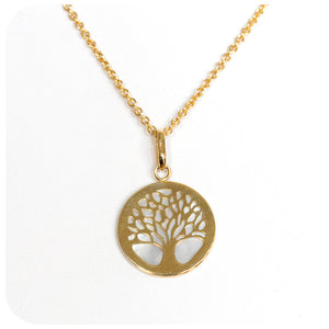 Lustrous 9k Yellow Gold Tree of Life with Radiant Mother of Pearl Backing - Victoria's Jewellery