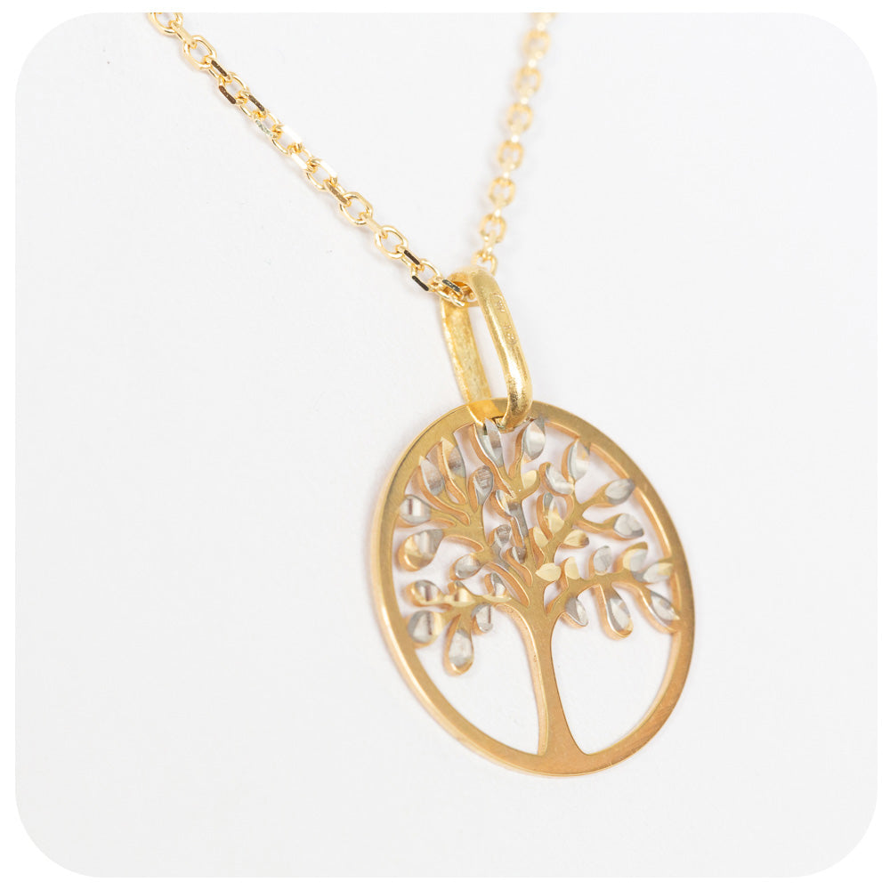 9k Yellow and White Gold Shimmering Tree of Life Pendant - Victoria's Jewellery