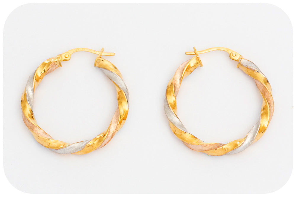 Yellow, Rose and White Gold Twisted Hoop Earring - 20mm