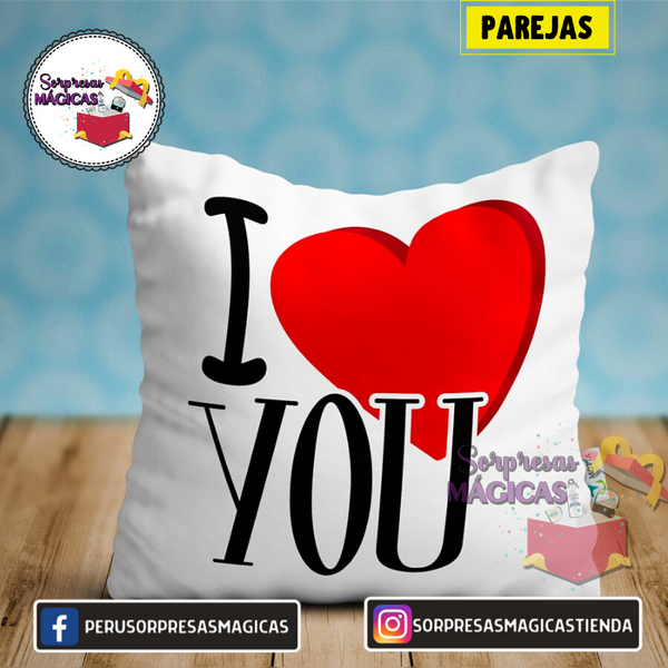 ALMOHADA AMOR I LOVE YOU 40x40CM SORPRESAS MÁGICAS