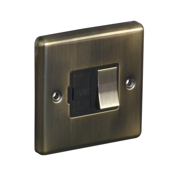 1 Gang 13A Switched Fuse Connection Unit Spur Round Angled Plate
