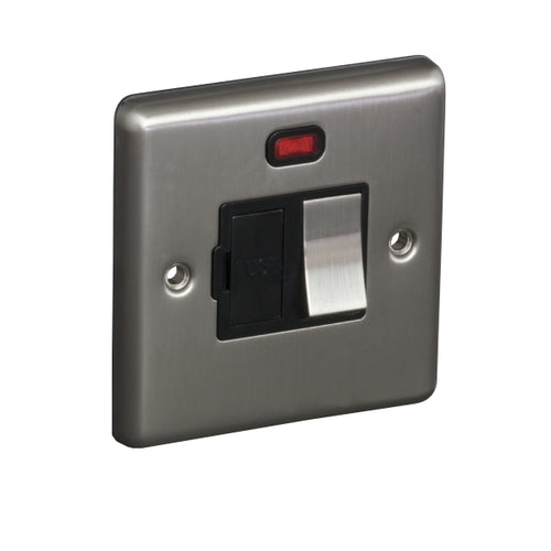 1 Gang 13A Switched Fuse Connection Unit Spur with Neon Round Angled Plate
