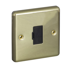 1 Gang 13A Unswitched Fuse Connection Unit Spur Round Angled Plate
