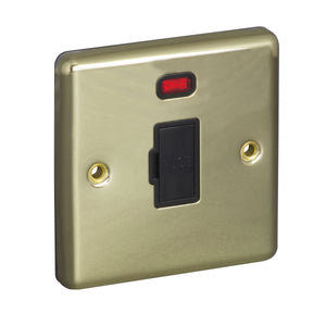 1 Gang 13A Unswitched Fuse Connection Unit Spur with Neon Round Angled Plate