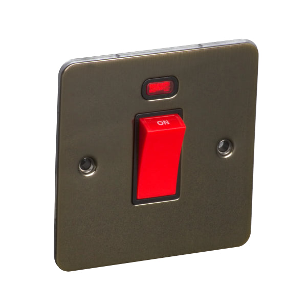 1 Gang 45A Double Pole Switch with Neon Flat Plate