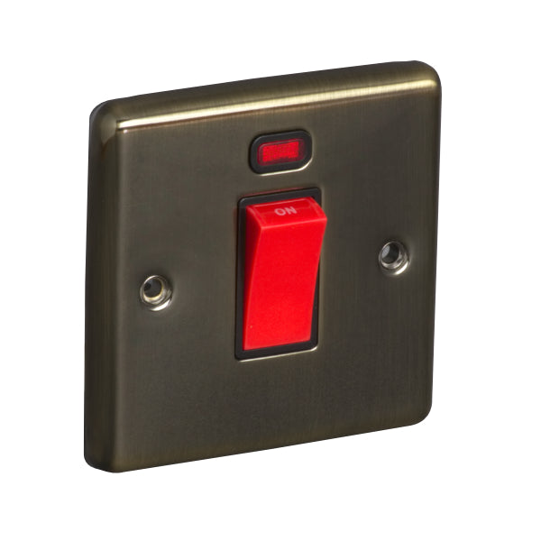 1 Gang 45A Double Pole Switch with Neon Round Angled Plate