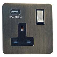 Load image into Gallery viewer, 1 Gang 13A Switched Socket with USB Charging Screw Less Plate
