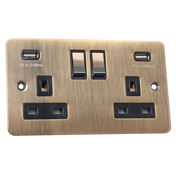 2 Gang 13A Switched Socket with USB Charging Flat Plate