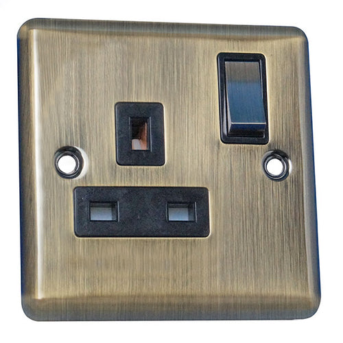 1 Gang 13A Switched Socket Round Angled Plate