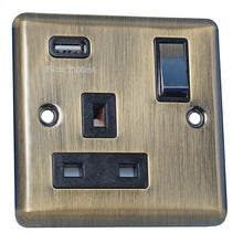 Load image into Gallery viewer, 1 Gang 13A Switched Socket with USB Charging Round Angled Plate Plate
