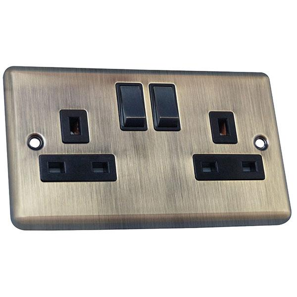 2 Gang 13A Switched Socket Round Angled Plate