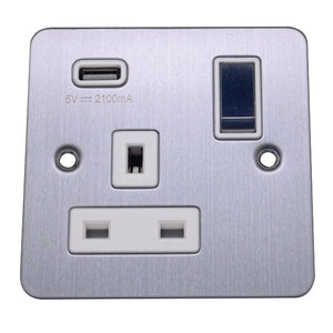 1 Gang 13A Switched Socket with USB Charging Flat Plate