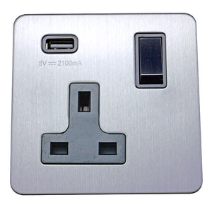 1 Gang 13A Switched Socket with USB Charging Screw Less Plate