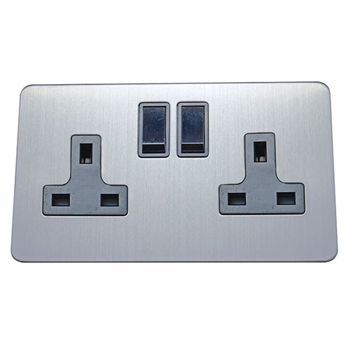 2 Gang 13A Switched Socket Screw Less Plate