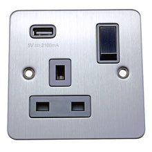 Load image into Gallery viewer, 1 Gang 13A Switched Socket with USB Charging Flat Plate