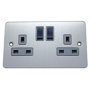 2 Gang 13A Switched Socket Flat Plate