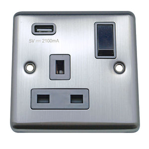 1 Gang 13A Switched Socket with USB Charging Round Angled Plate Plate