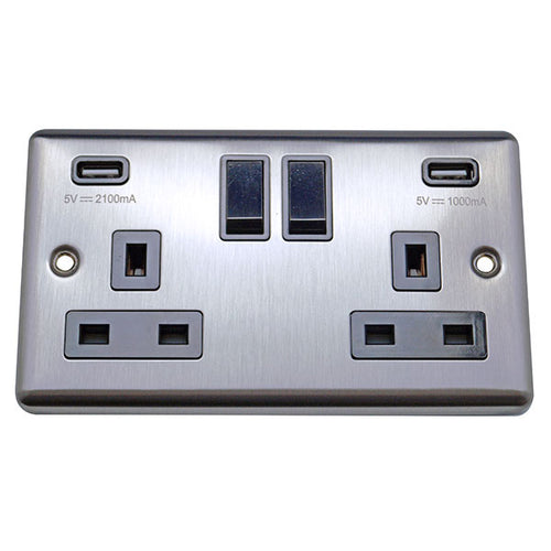 2 Gang 13A Switched Socket with USB Charging Round Angled Plate