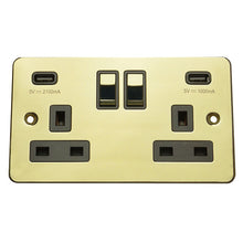 Load image into Gallery viewer, 2 Gang 13A Switched Socket with USB Charging Flat Plate