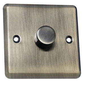1 Gang 1 Way Dimmer Switch Round Angled Plate