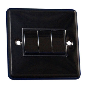 3 Gang 2 Way Rocker Round Angled Plate