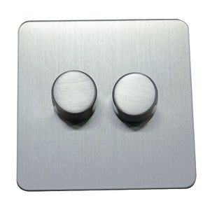2 Gang 2 Way Dimmer Switch Screw Less Plate