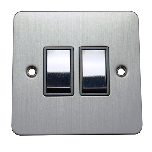 2 Gang 2 Way Rocker Flat Plate