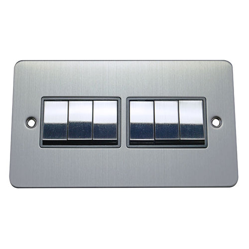 6 Gang 2 Way Rocker Flat Plate