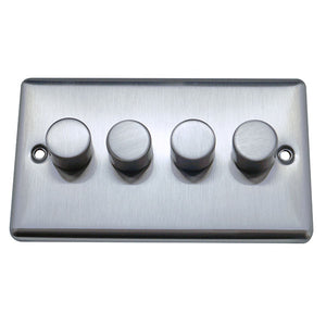 4 Gang 2 Way Dimmer Switch Round Angled Plate