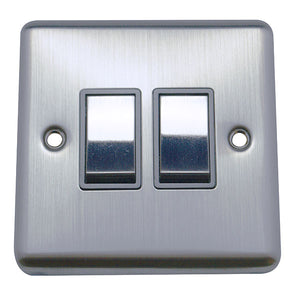 2 Gang 2 Way Rocker Round Angled Plate
