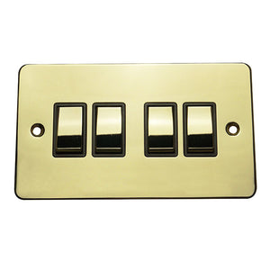 4 Gang 2 Way Rocker Flat Plate