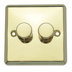 2 Gang 2 Way Dimmer Switch Round Angled Plate