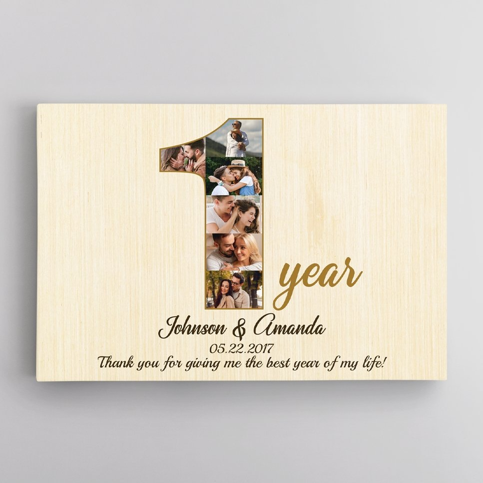 How much do you love your husband? Count the days, weeks, and years with this canvas photo canvas. Create yours to make a meaningful anniversary gift & celebrate your first year together!