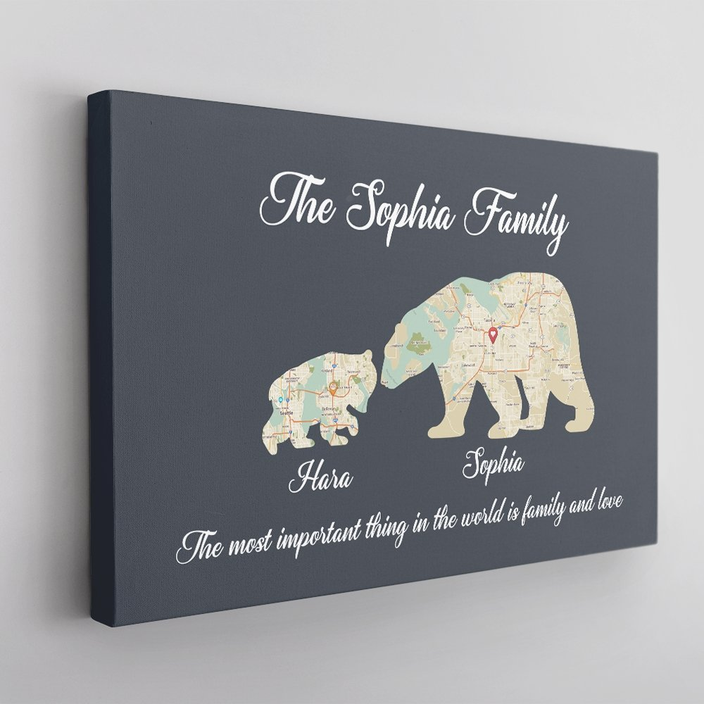 Papa bear canvas wall art is a creative present for dad. Your daddy will be described as a strong and brave papa bear to lead your family. Just personalize with your family members' names, heart-melting text, and maps of cities your loved ones are living in now to make it a unique gift to show your love to your dad.