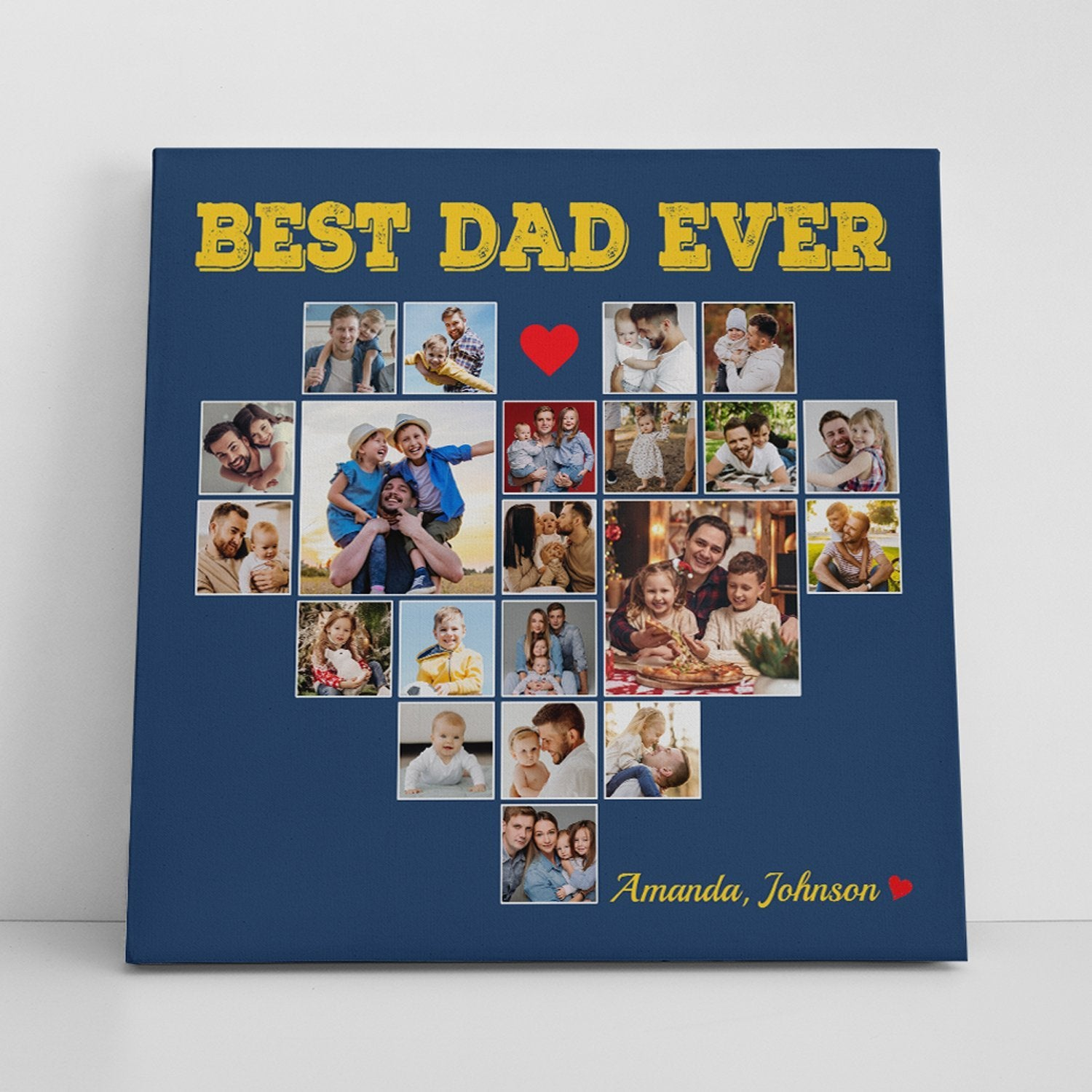 """If you always smile when remembering every memory about your best dad, then why not say """" i love my dad"""" by a Photo Collage Canvas Wall Art personalized with your favorite pictures of your siblings with your old man. This unique gift idea is sure to be one of the most personalized fathers day gifts that bring him back to the moments when you two repaired the bike, flew the kite, or simply when he smiled happily when you called him """"daddy""""."""