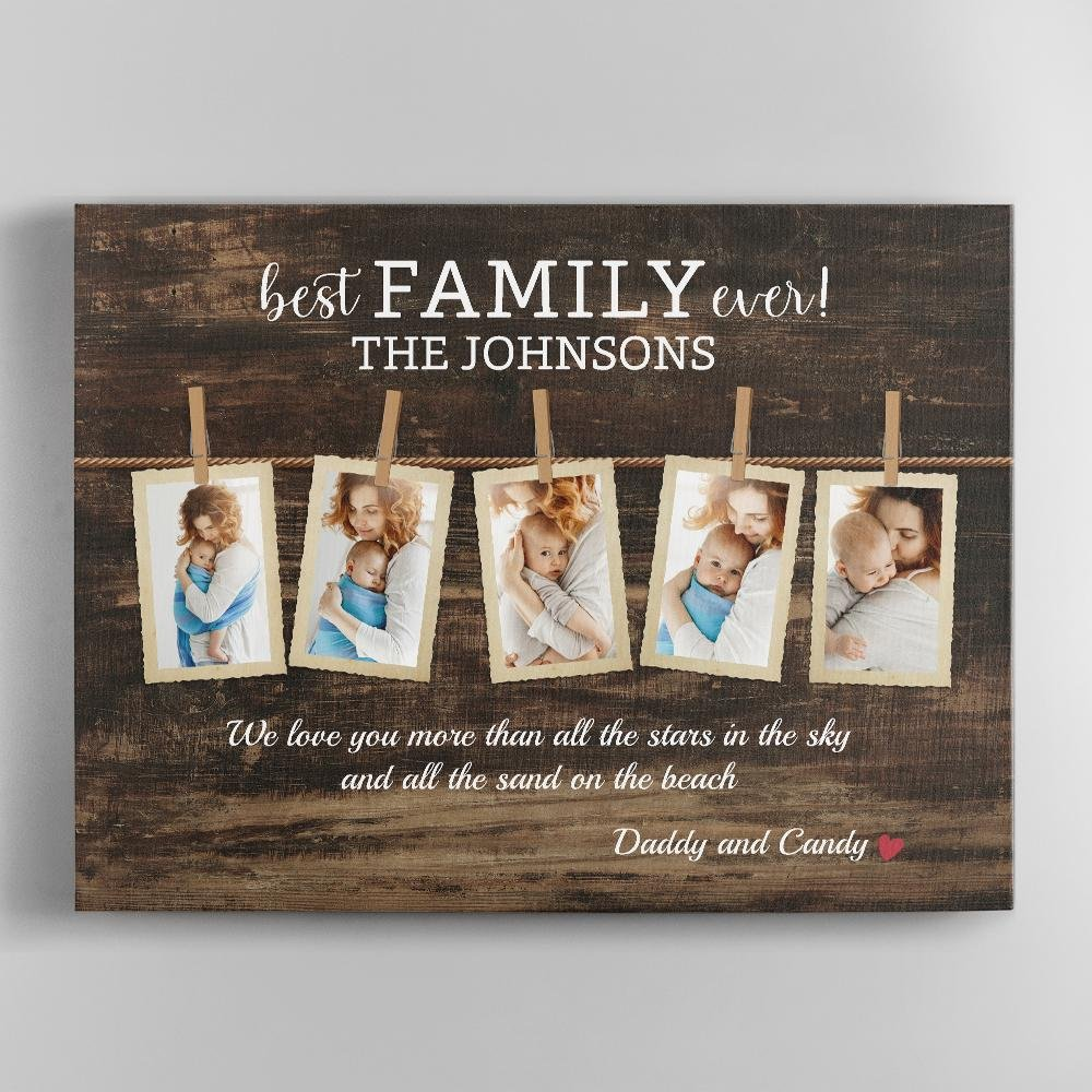 Best Family Ever, Custom Photo, Personalized Family Name And Text Canvas Wall Art