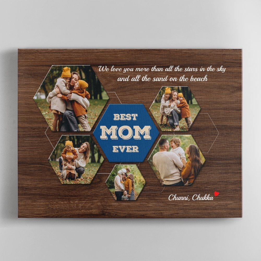 """Mom is the best, we usually say it, don't we? This Mother's day let turn those words into reality with a """"Best Mom Ever Custom Photo Collage"""". Pick the best photos and add your message to make mommy feel loved now."""