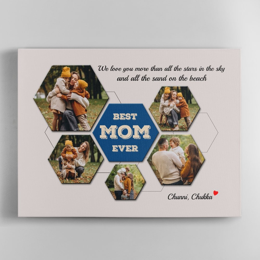 Best Mom Ever Custom Photo Collage Canvas Wall Art - Grey Vintage Background