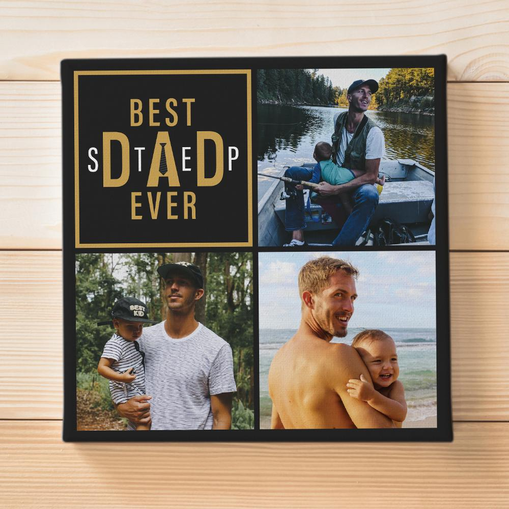 You're proud of having the best stepdad ever. You are seeking unique gifts for him to show your gratitude, respect, and love to him. Sending him a Best Step Dad Canvas personalized with your pictures and a love message is a good consideration. It's sure that he'll appreciate the love you want to express to him.