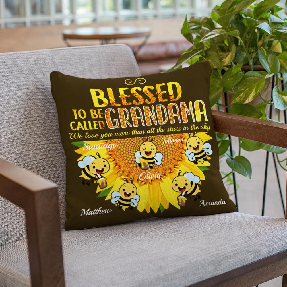 Blessed To Be Called Grandma, Custom Name And Text Pillow