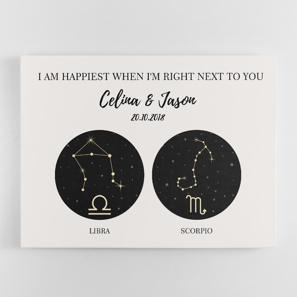It's necessary to tell somebody when you love them. But it can be difficult for many of us to describe how we feel, so the right words do not always come out in the way we want. Let astrology wall art support you to say it in the easiest but most affectionate way. Two constellations & zodiac signs of you and your partner accompanied by your text, names, and date create a wonderful zodiac gift for astrology lovers.