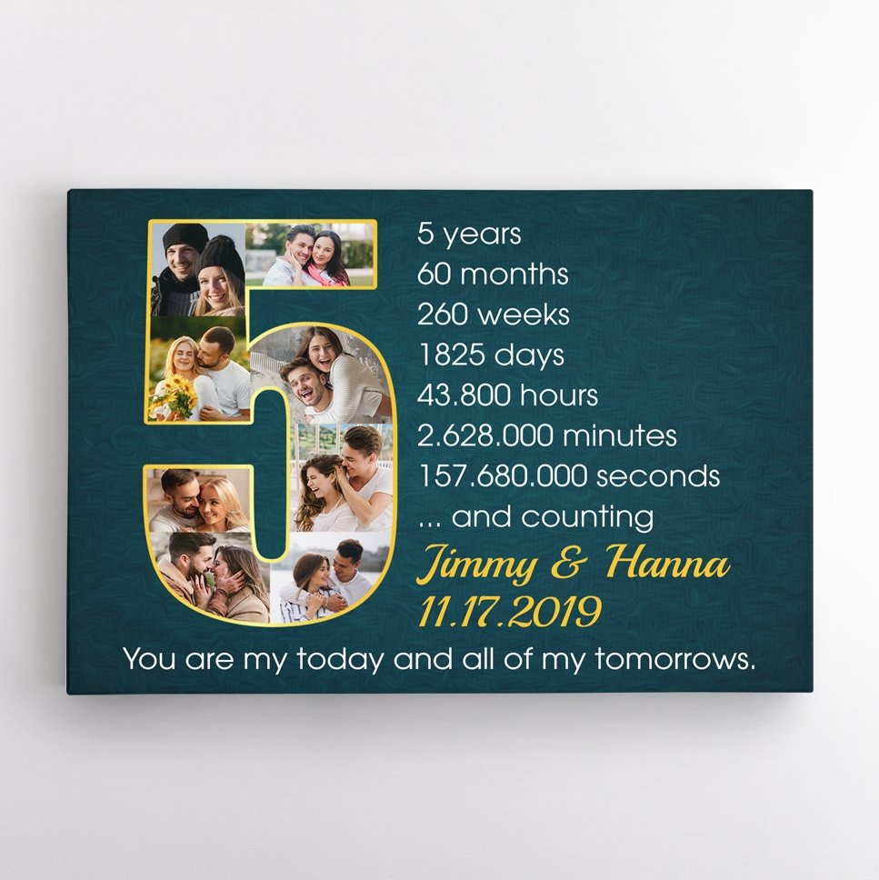 Should you be together for a certain period of time, anniversary gifts by year will be a nifty idea. And this 5th Wedding Anniversary Photo Collage Canvas can be what you're looking for to cheer your five year anniversary. It helps to commemorate every memorable moment you have experienced together during the past five years through each photo and timeline.