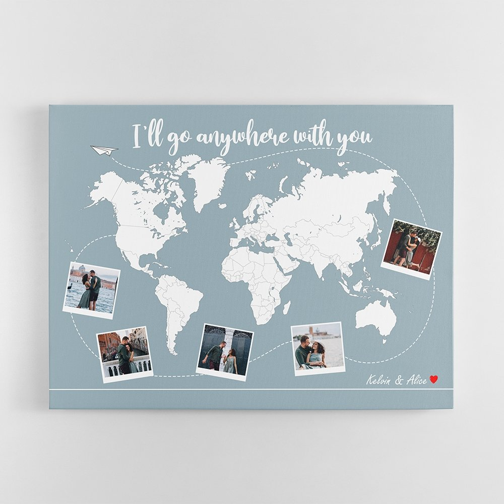 """One more anniversary present idea for your globetrotter is a personalized world travel map. This travel memories map can save every cheerful moment in every journey you have experienced together around the world. It also goes along with a romantic message """"I'll go anywhere with you"""", which makes it sound like an affectionate promise: """"From the mountains to the sea, as long as we're both together"""". Undoubtedly, the personal travel map is a perfect sentimental gift for travel lovers."""